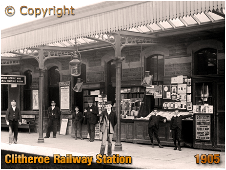 Lancashire : Platform and Kiosk at Clitheroe Railway Station [1905]