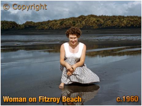 New Zealand : Woman on Fitzroy Beach at Taranaki [c.1960]