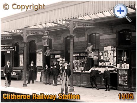 Lancashire : Platform and Kiosk at Clitheroe Railway Station [1905]