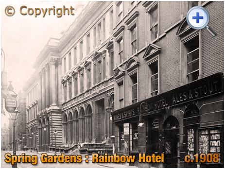 Lancashire : Rainbow Hotel at Spring Gardens in Manchester [c.1908]