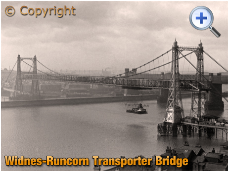 Lancashire : Widnes-Runcorn Transporter Bridge in operation across the River Mersey and Manchester Ship Canal [c.1928]