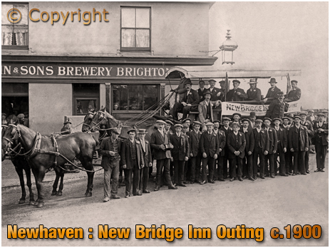 Sussex : Charabanc Outing from the New Bridge Inn at Newhaven [c.1900]