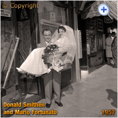 Donald Swithen carrying Mario Fortunato over the threshold [July 1957]