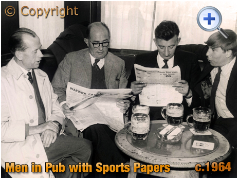 Men in Pub with Sports Papers [c.1964]