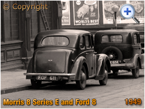 Morris 8 Series E with Ford 8 in Summer Lane at Birmingham [1949]