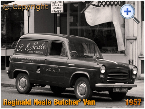 Reginald Neale's Butchery Van parked in Islington Row at Birmingham [1957]