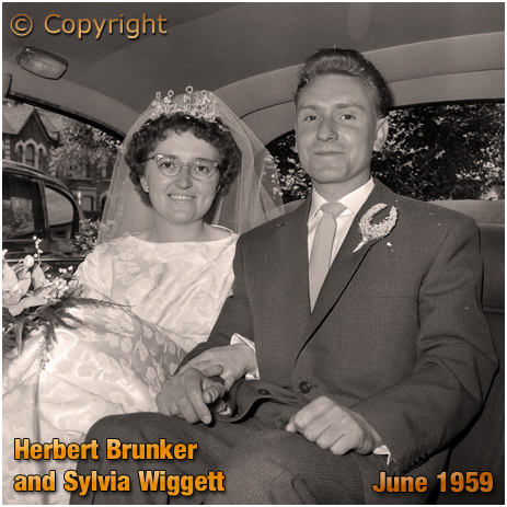 Clapton Park Congregational Chapel : Herbert Brunker and Sylvia Wiggett in the Wedding Limousine [June 1959]