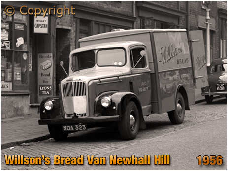 Birmingham : Willson's Bread Van delivering on Newhall Hill [1956]