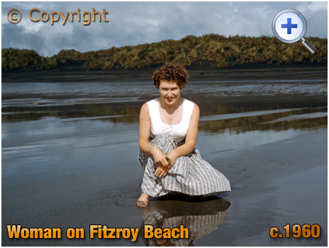 New Zealand : Woman on Fitzroy Beach at Taranaki [c.1960]