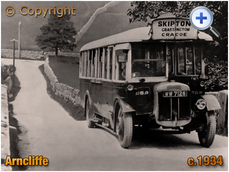 Yorkshire : Wharfedale and Littondale Bus Service at Arncliffe [c.1934]