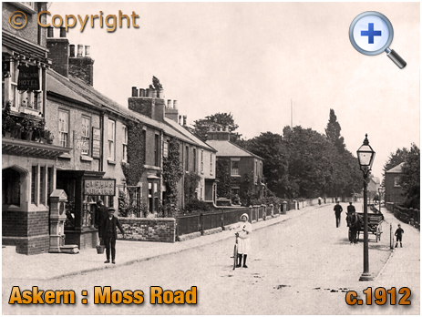 Yorkshire : Moss Road at Askern with Railway Hotel and Cycle Repair Shop [c.1912]