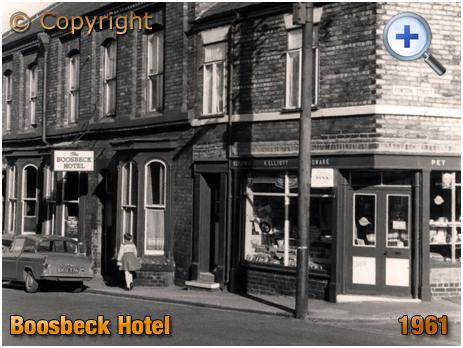 Yorkshire : Boosbeck Hotel and Corner Shop on High Street Boosbeck [1961]