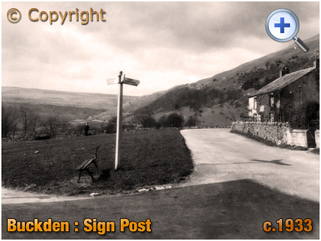 Yorkshire : Road Sign Post at Buckden in the Dales [c.1933]