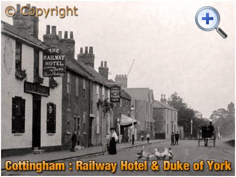 Yorkshire : Railway Hotel and Duke of York Inn on Thwaite Street in Cottingham [c.1905]