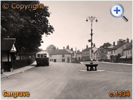 Yorkshire : Gargrave Village with Road Sign and Bus [c.1934]
