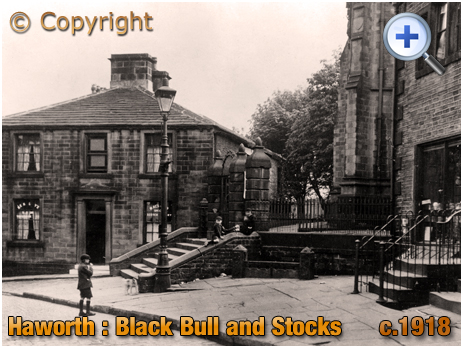 Yorkshire : The Black Bull with Stocks and Post Office at Haworth [c.1918]