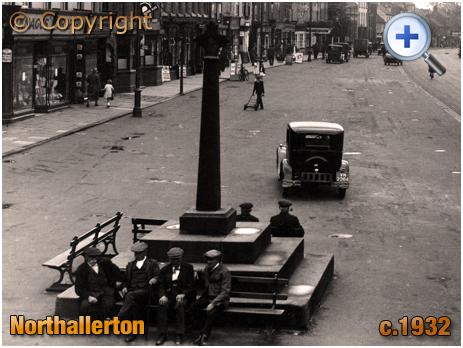 Yorkshire : Old Men sat on the Market Cross at Northallerton High Street [c.1932]