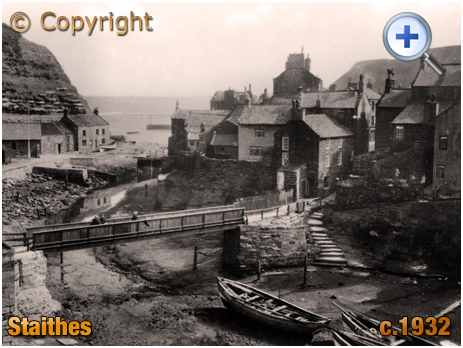 Yorkshire : Footbridge over the Roxby Beck at Staithes [c.1932]