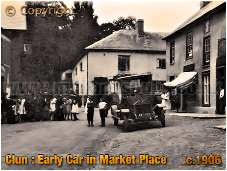 Clun : Early Car in Market Place [c.1906]