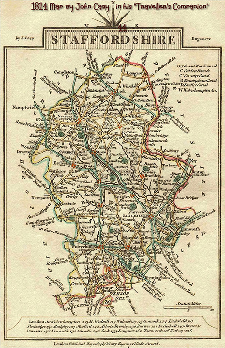 1814 Map of Staffordshire by John Cary