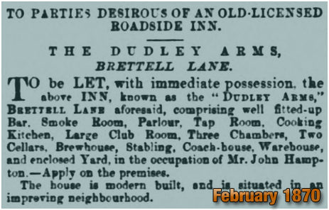 Advertisement for the Dudley Arms on Brettell Lane [February 1870]