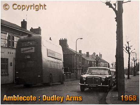 Amblecote : Double-Decker Bus outside the Dudley Arms at Brettell Lane [1968]
