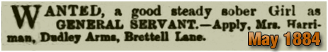 Amblecote : Servant Girl Wanted at the Dudley Arms Hotel on Brettell Lane at Amblecote [1884]