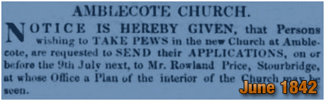 Amblecote : Notice advertising Pews at Holy Trinity Church [1842]