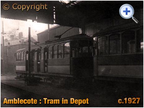 Amblecote : Tram in Depot of Kinver Light Railway [c.1927]