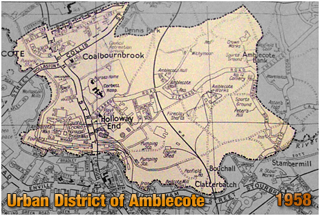 Map of the Urban District of Amblecote in Staffordshire [1958]