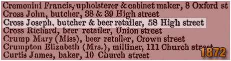 Bilston : Joseph Cross in the Post Office Directory for Staffordshire [1872]