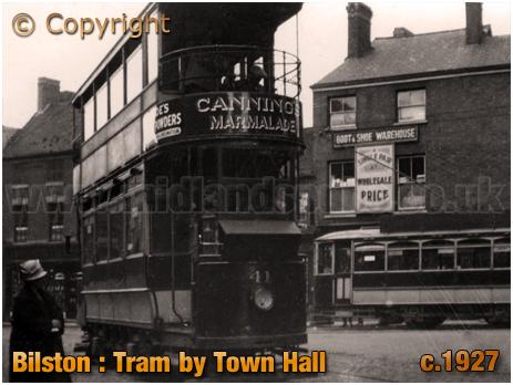 Bilston : Tram by Town Hall [c.1927]