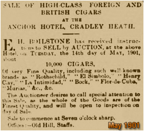 Cradley Heath : Cigar Sale at the Anchor Hotel [1901]