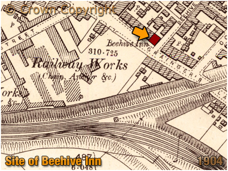 Cradley Heath : Map showing the location of the Beehive Inn on Grainger's Lane [1904]