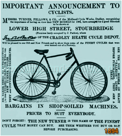Advertisement for the Cradley Heath Cycle Depot [1894]