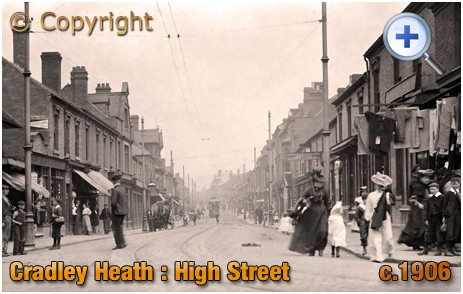 Cradley Heath : High Street and Shops from Five Ways [c.1906]