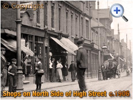 Cradley Heath : Shops on the North Side of the High Street near Five Ways [c.1906]