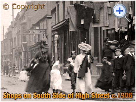 Cradley Heath : Shops on the South Side of the High Street near Five Ways [c.1906]