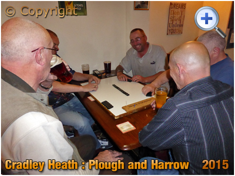 Cradley Heath : Regulars playing dominoes in the Plough and Harrow at Corngreaves [2015]