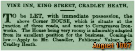Cradley Heath : Advertisement for a lease of the Vine Inn [1867]