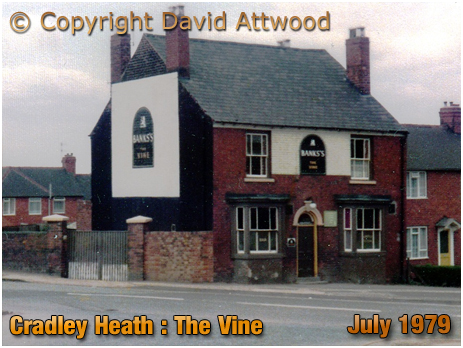 Cradley Heath : The Vine on the corner of Prince Street and Corngreaves Road [1979]