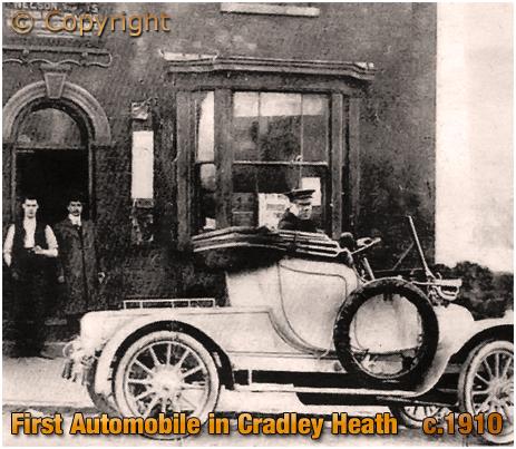 Cradley Heath's first automobile outside the Vine Inn [c.1910]