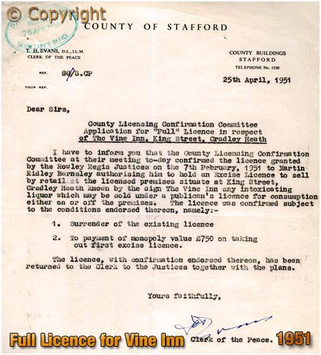 Full Licence granted to the Vine Inn [1951]