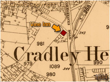 Cradley Heath : Map Extract showing the Vine Inn on the corner of King Street and Corngreaves Road [1884]