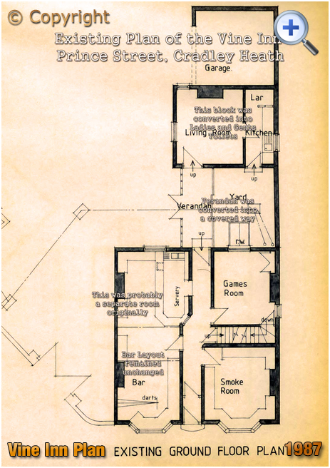 Cradley Heath : Plan showing the layout of the Vine Inn at Corngreaves [1987]