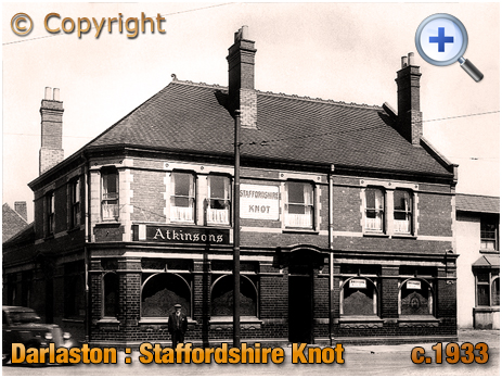 Darlaston : Staffordhire Knot on the corner of Pinfold Street and Catherine's Cross [c.1933]