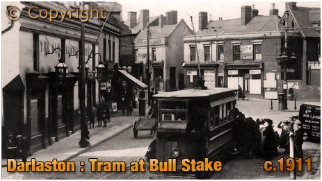 Darlaston : Tram at Bull Stake [c.1911]