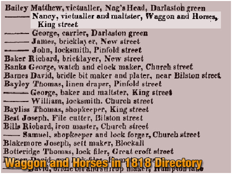 Darlaston : The Waggon and Horses in the Staffordshire General and Commercial Directory [1818]