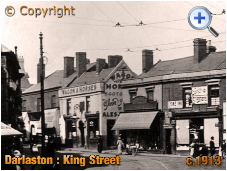 Darlaston : King Street featuring the Wagon and Horses [c.1913]