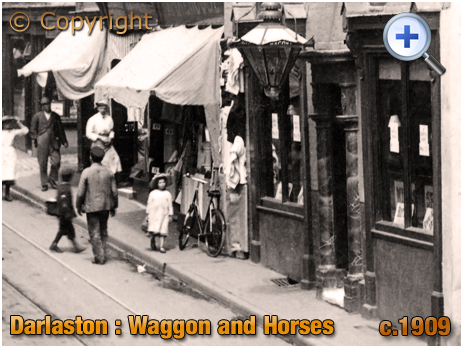 Darlaston : Waggon and Horses and Shops of King Street [c.1909]